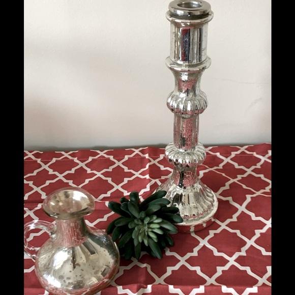 Pottery Barn Mercury Glass Vase & Candlestick